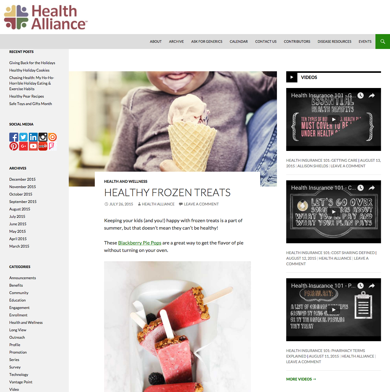 Healthy Frozen Treats Blog Post
