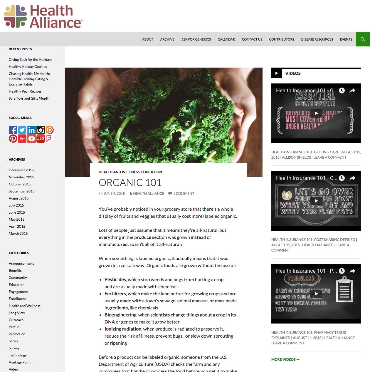 Organic 101 Blog Post