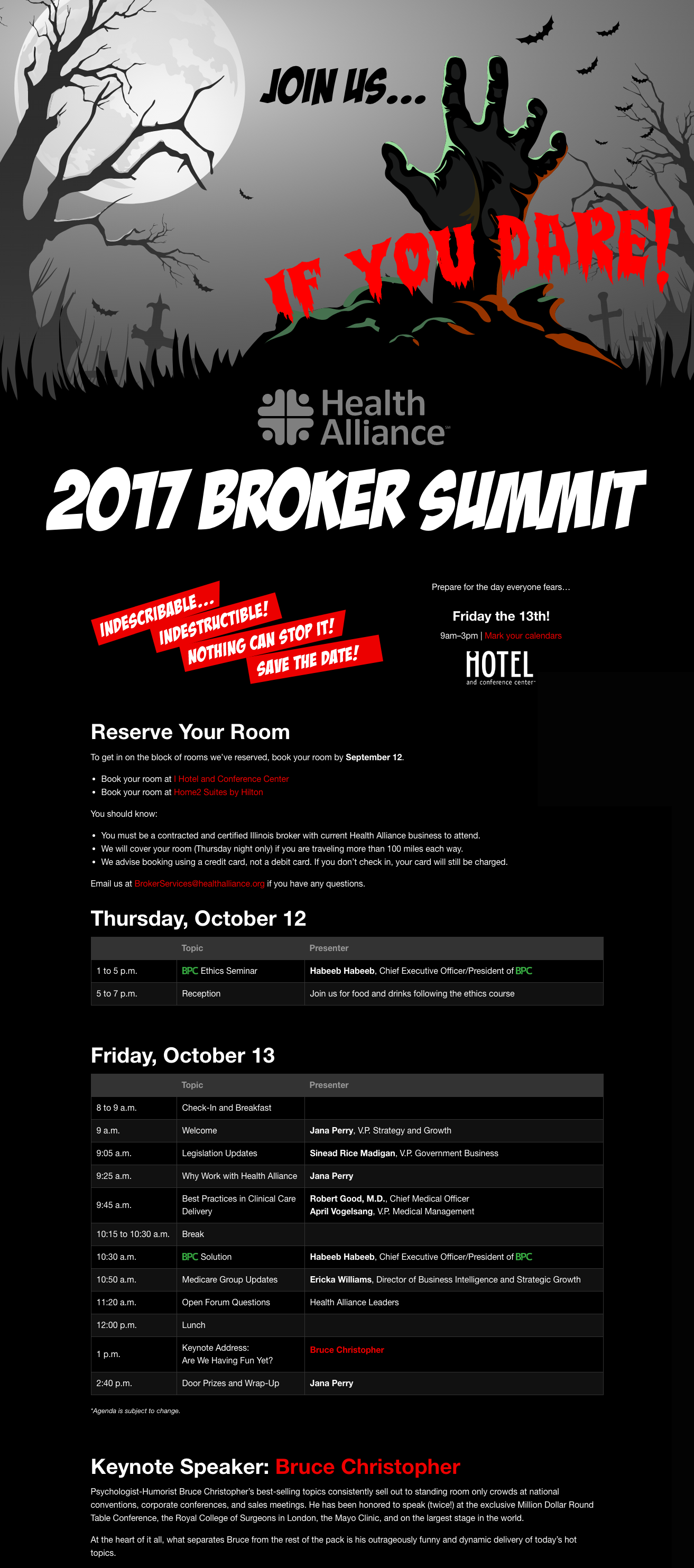 Broker summit landing page