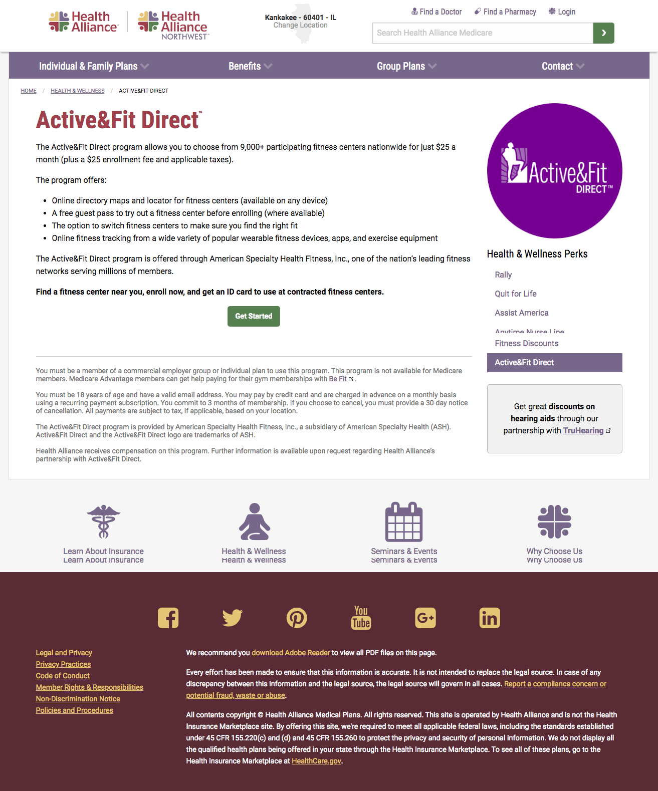 Active&FitDirect landing page