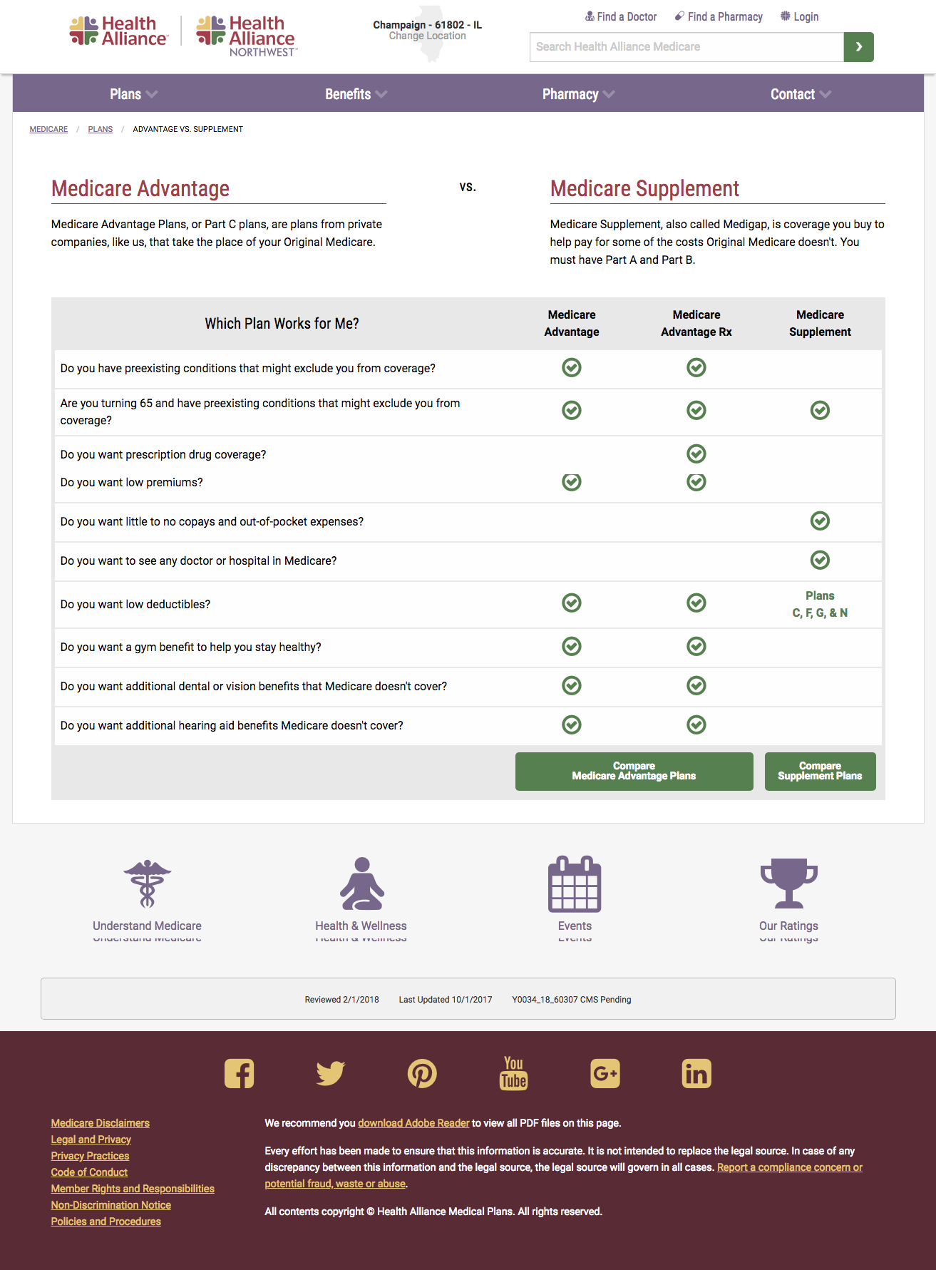 Medicare Advantage vs. Supplement page