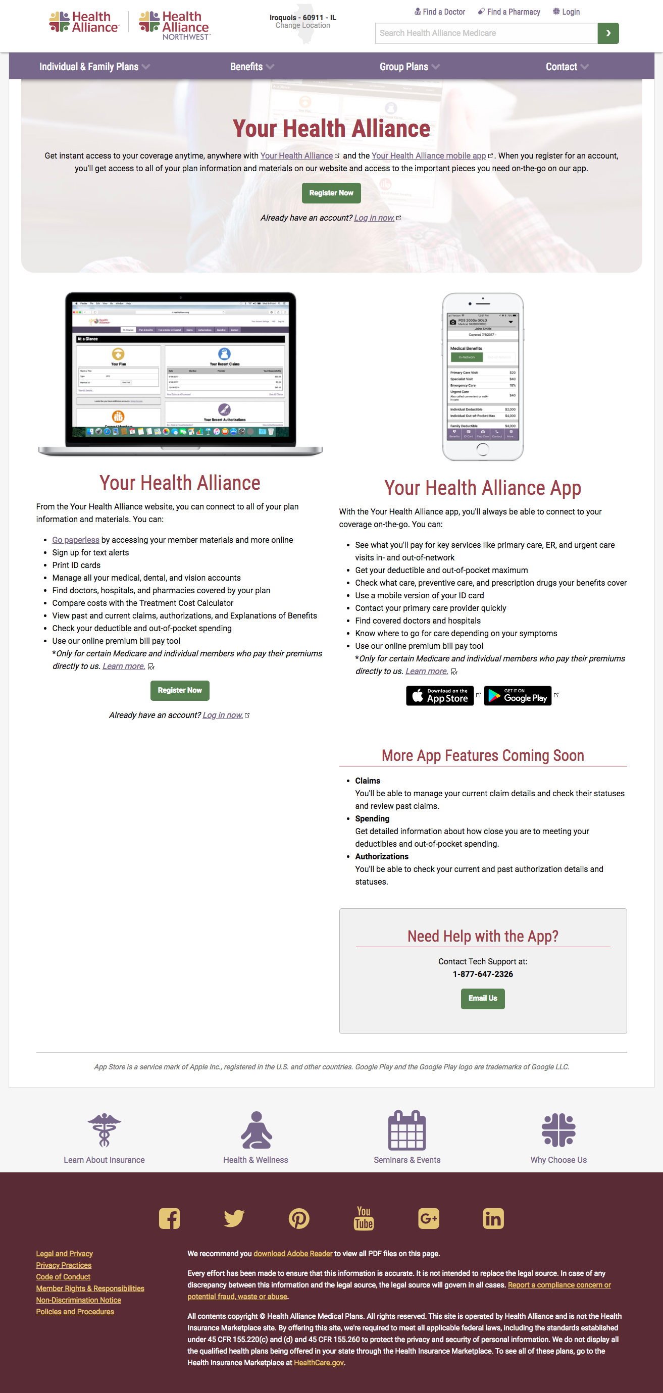 Health Alliance app landing page