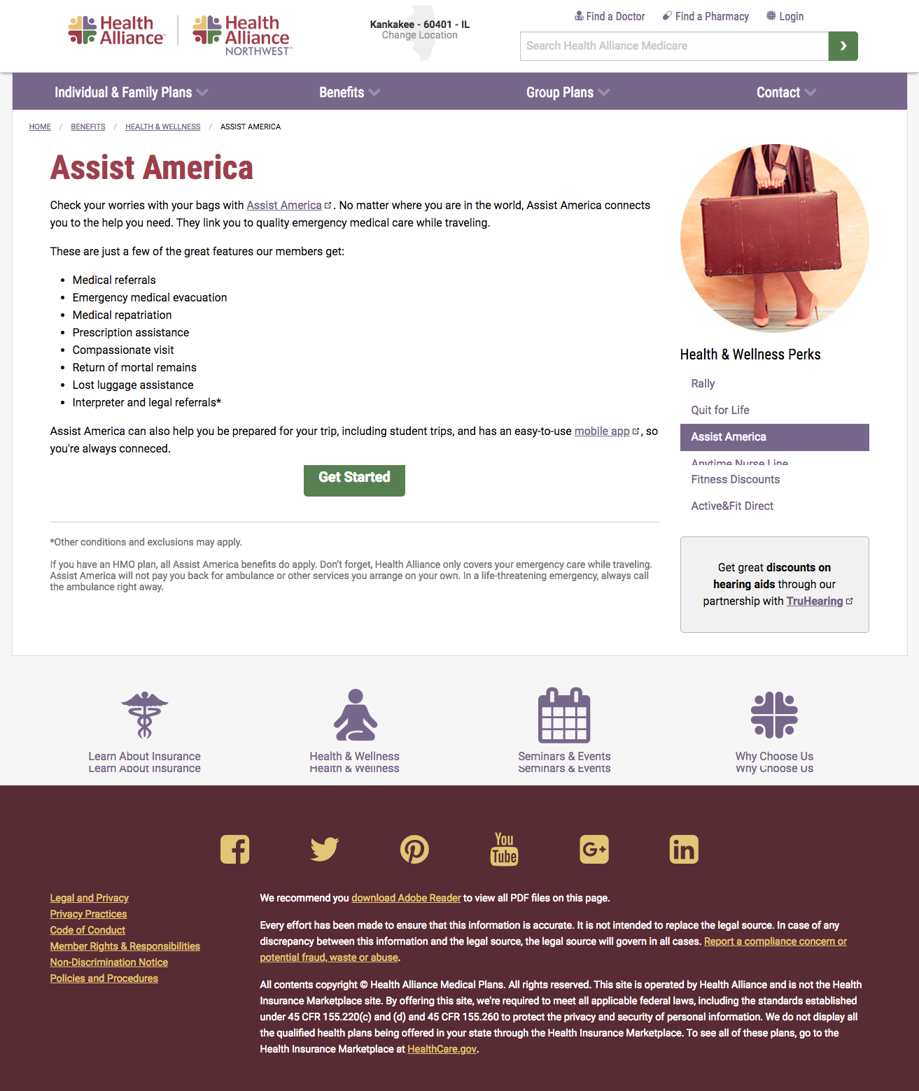 Assist America landing page