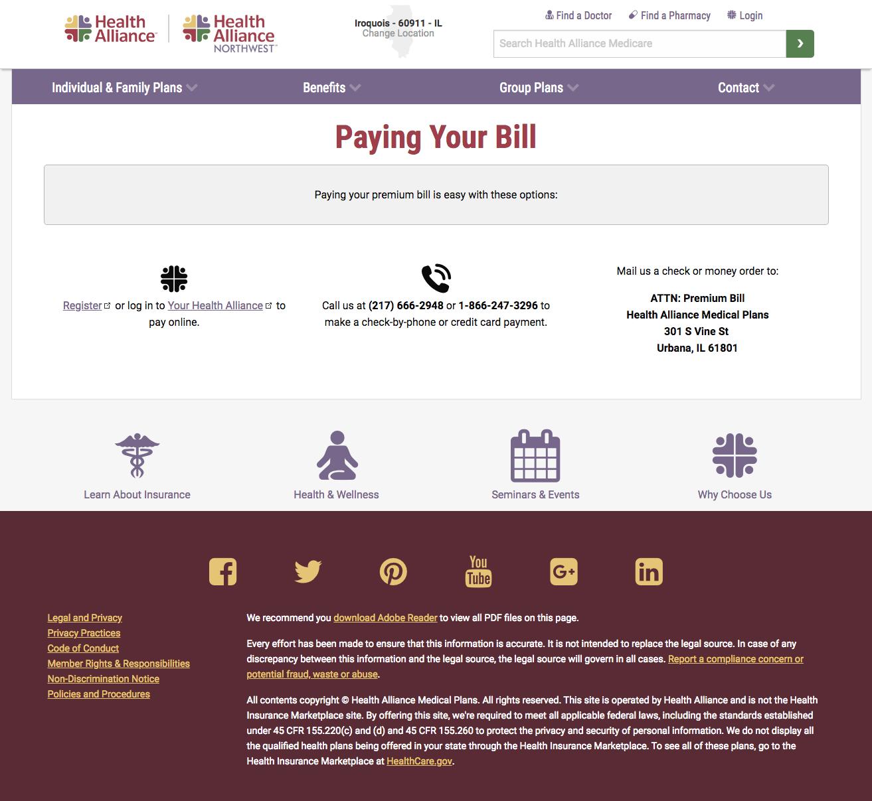 Health Alliance Main Website Allison Shields Portfolio