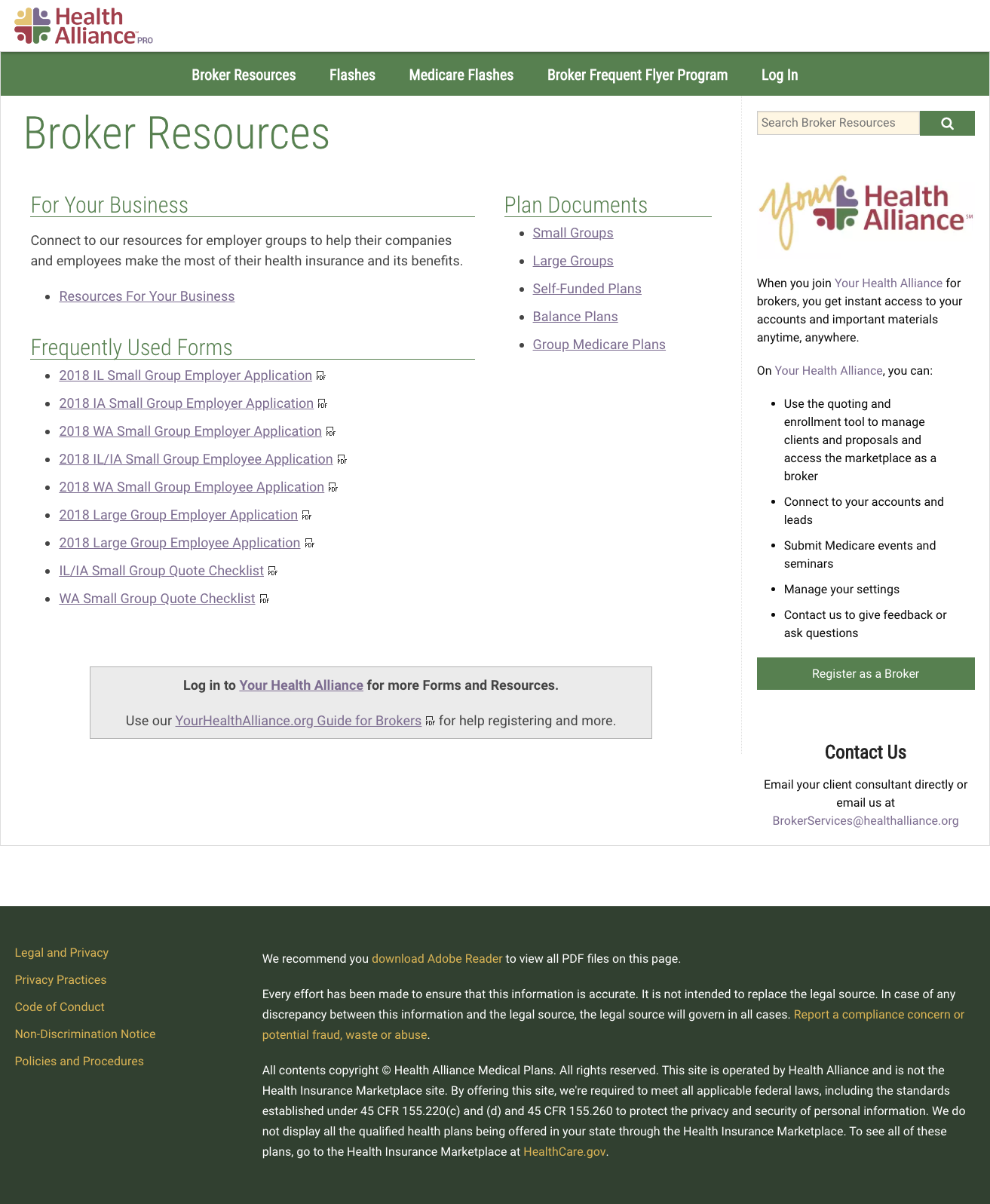 Broker resources landing page