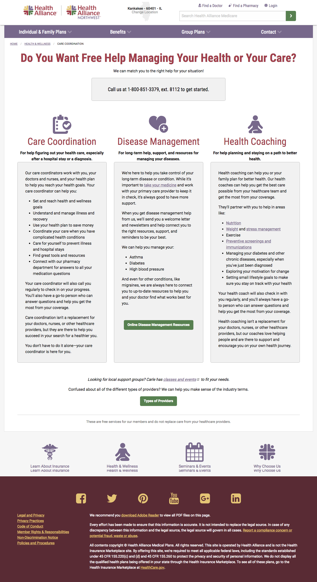 Care coordination landing page