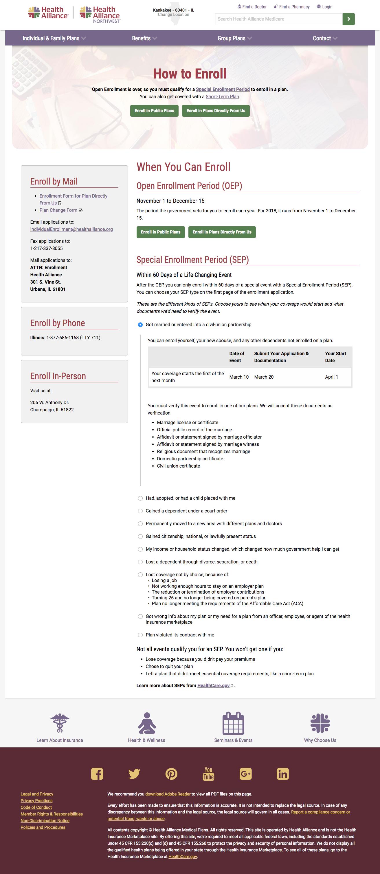 Enroll landing page