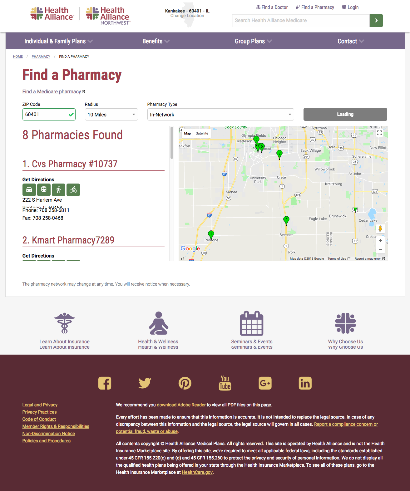 Pharmacy search page