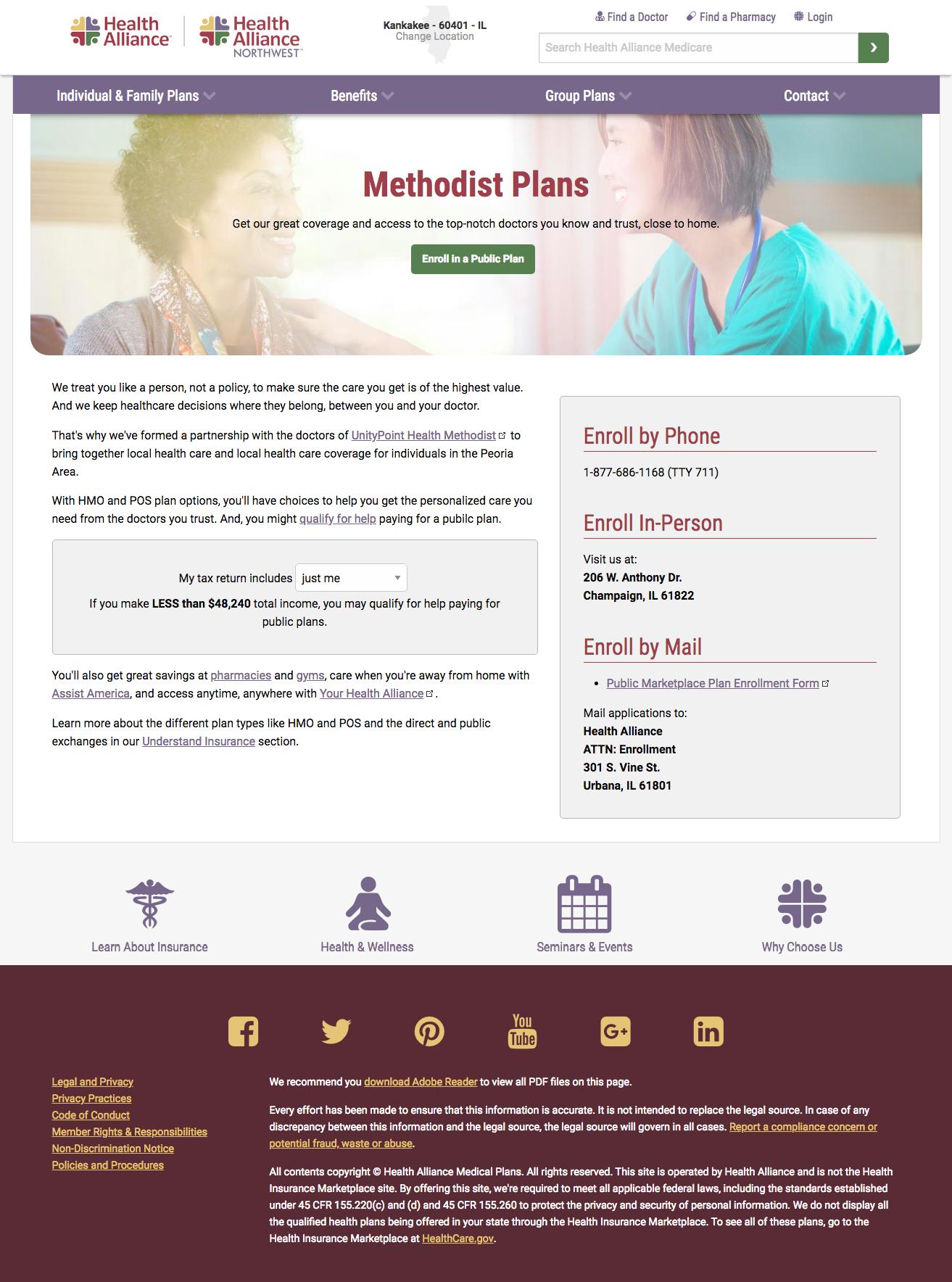 Methodist plan landing page