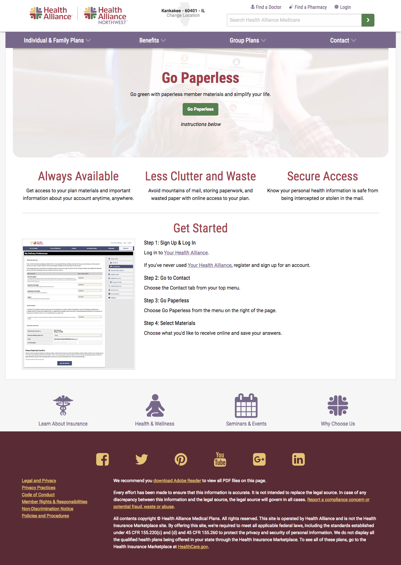 Go paperless landing page