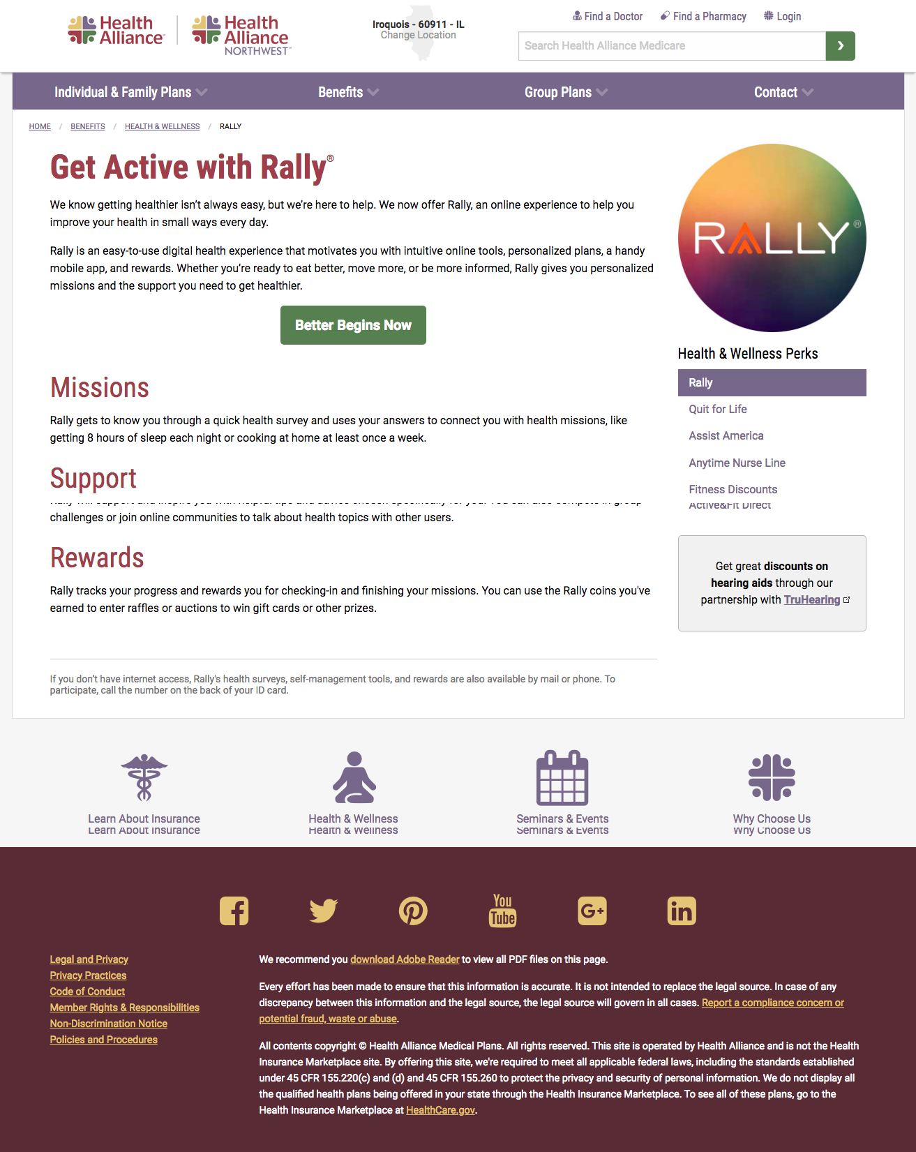 Rally landing page
